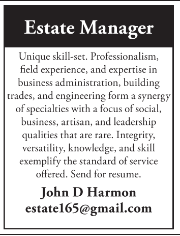 Estate Manager   Business Professional Directory  Estate Manager Resume