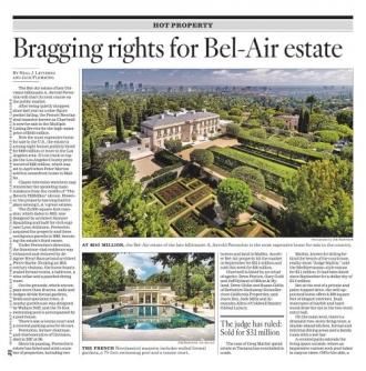 Bragging Rights For Bel Air Estate Real Estate San Fernando